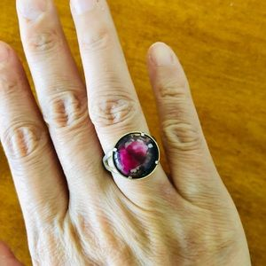 Vintage Fuchsia Ring in Brass